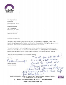 The Bridge To Hope thank you letter